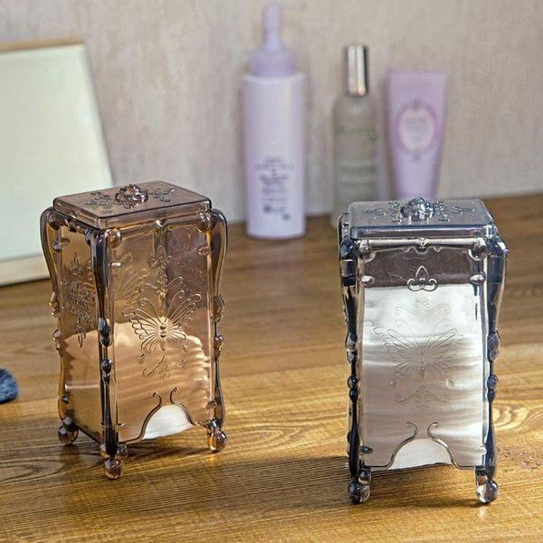 桌面化妝棉收納盒塑料透明盒子 創意歐式化妝品收納整理盒