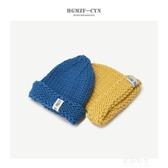原宿帽子女冬季韓版尖頭粗毛線毛線帽戶外加厚保暖可愛布標針織帽 伊莎公主