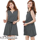 顯瘦V領不敗條紋縮腰綁帶孕婦洋裝 兩色 台灣製【CMI650】孕味十足 孕婦裝