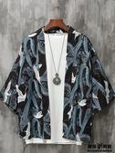 日系復古仙鶴道袍男浮世繪寬鬆七分袖襯衫外套中國風kimono和服女