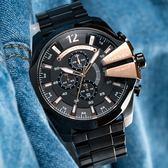 DIESEL 經典黑錶盤三眼計時腕錶 DZ4309 熱賣中!