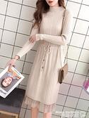 蕾絲洋裝 蕾絲打底針織連身裙女裝春裝2021新款潮氣質長款秋冬毛衣裙子過膝 曼慕