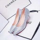 新款尖頭婚鞋銀色新娘鞋3-5厘米高跟鞋細跟女鞋金色伴娘中跟單鞋   西城故事