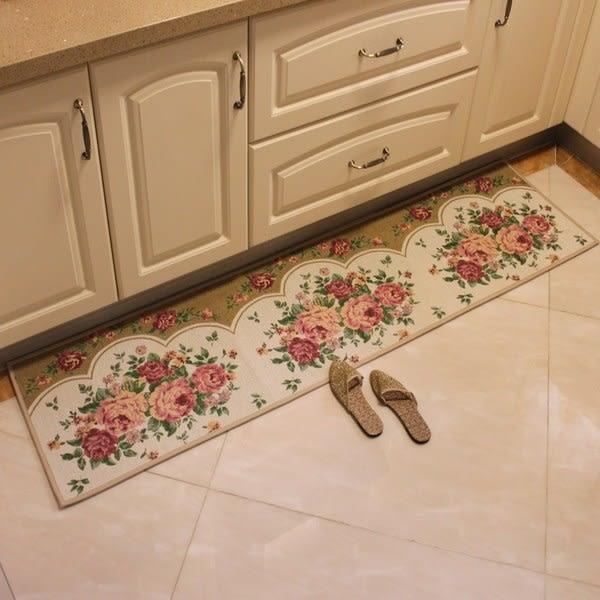 時尚玫瑰花地墊 廚房浴室衛生間吸水長條防滑地毯