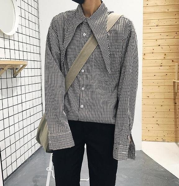 FINDSENSE Z1 韓國 時尚 潮 男 複古 翻領 格紋 寬鬆 長袖襯衫