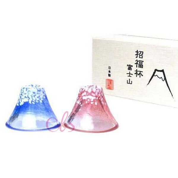 日本製 富士山 招福冷酒杯 紅+藍 一對入☆艾莉莎ELS☆