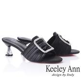 2019春夏_Keeley Ann造型透視跟 水鑽方釦綢緞低跟拖鞋(黑色) -Ann系列