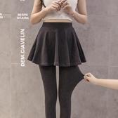假兩件褲裙 假兩件打底褲女外穿春秋季薄款包臀裙褲大碼九分百褶踩腳顯瘦長褲 小宅女