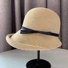 赫本風卷邊女士夏季可折疊太陽草帽遮臉防紫外線日系防曬遮陽帽子 滿天星