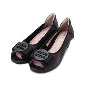 GOOD-DAY 牛皮圓釦魚口跟鞋 黑 女鞋