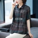 短袖格子襯衫夏季韓版大碼寬鬆復古襯衣百搭休閒上衣女潮快速出貨