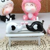 黑白色愛心小象微景觀 多肉植物創意居家裝飾 暖心【A001014】