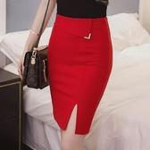 窄裙 短裙春夏包臀半身裙彈力開叉一步裙OL職業修身顯瘦中短裙大碼女裝