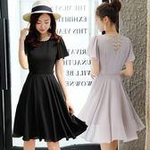 洋裝 夏季鏤空蕾絲拼接雪紡連身裙短袖修身大擺大碼 巴黎春天