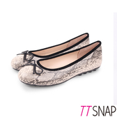 娃娃鞋-TTSNAP MIT真皮經典蛇紋蝴蝶結柔軟平底鞋 米
