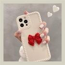 適用蘋果12手機殼iphone11promax紅色立體蝴蝶結蘋果xsmax簡約女款 pinkq時尚女裝