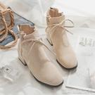 高跟短靴冬季新款方頭高跟小短靴女春秋單靴子百搭網紅瘦瘦靴粗跟中跟 【快速出貨】