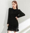 修身洋裝小禮服金絲絨魚尾包臀黑色性感長袖修身小黑裙連身裙803NB22-A快時尚