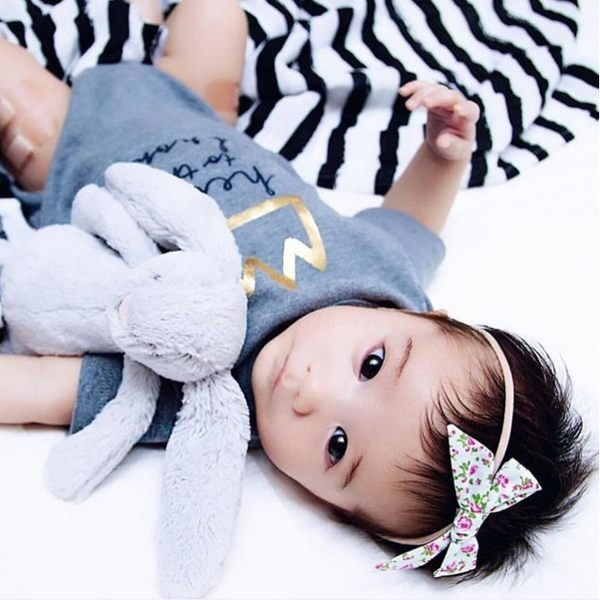 Baby Bling 小蝴蝶結細版寶寶髮帶-碎花款