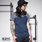 【BTIS】條紋素面 拼接T-shirt / 丈青色