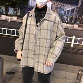 港風韓版毛呢外套男秋冬季潮流呢子大衣帥氣寬鬆格子風衣夾克 扣子小鋪