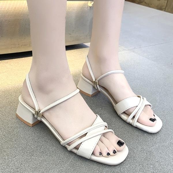 兩穿涼鞋.氣質簡約交叉繞帶粗跟方頭鞋.白鳥麗子