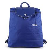 Longchamp 1699 LE PLIAGE 奔馬刺繡折疊尼龍後背包(鈷藍色)480210-P24