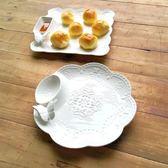 意陶瓷盤子帶醋碟水煮餃子盤瀝水水餃盤蒸餃盤骨瓷涼冷菜盤年貨慶典 限時鉅惠
