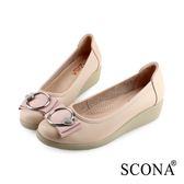 SCONA 蘇格南 全真皮 輕盈舒適鑽扣厚底鞋 粉色 31003-2