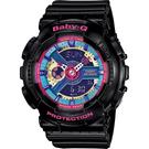 CASIO 卡西歐 Baby-G 彩色派對雙顯手錶-黑 BA-112-1ADR / BA-112-1A