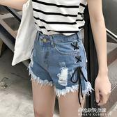 新款韓版破洞牛仔短褲女寬鬆顯瘦學生百搭側面綁帶毛邊熱褲潮  朵拉朵衣櫥
