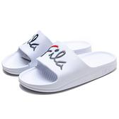 FILA (偏小建議大半號) 白 藍紅英文 草寫LOGO 橡膠 拖鞋 (布魯克林) 4S326U123