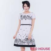 【RED HOUSE 蕾赫斯】珍珠印花短袖洋裝(共2色)