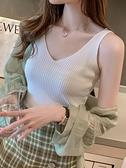 西裝內搭 針織背心吊帶女設計感外穿夏季薄款網紅西裝內搭黑色V領打底上衣G 韓國時尚 618