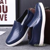 低筒水鞋男士青年短筒雨鞋時尚款防水防滑廚房用鞋膠鞋廚師工作鞋「時尚彩虹屋」