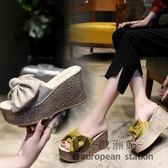 厚底拖鞋/一字拖女夏時尚性感蝴蝶結韓版鬆糕坡跟外穿防滑超高跟涼「歐洲站」