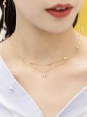 甜美花朵雙層項鍊女短款鎖骨鍊百搭簡約性感韓版大方氣質脖頸飾品