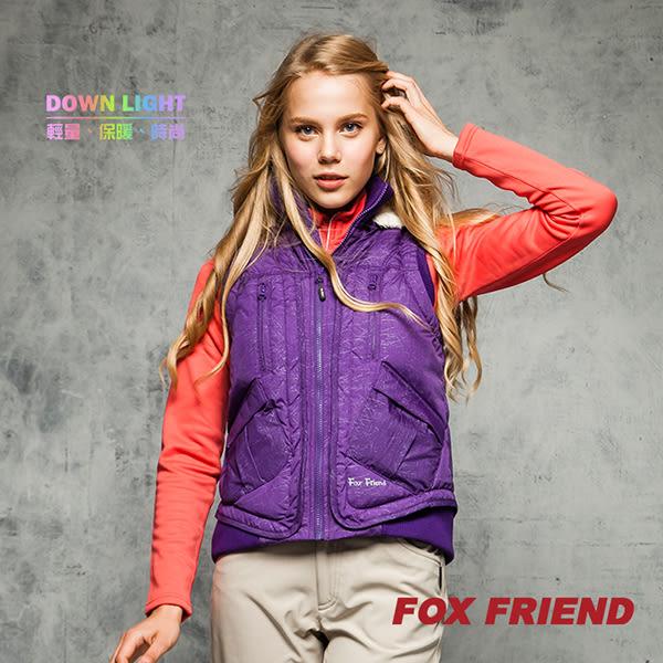 FOX FRIEND  少女款羅紋連帽羽絨背心 0160