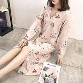 和服睡衣裙 女冬秋長袖睡裙浴衣日式系帶睡袍性感中長款 BF12343『男神港灣』