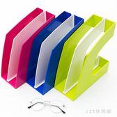文件架辦公室桌面文件夾收納盒架子框筐學生用品小清新書桌整理創意LB16454【123休閒館】