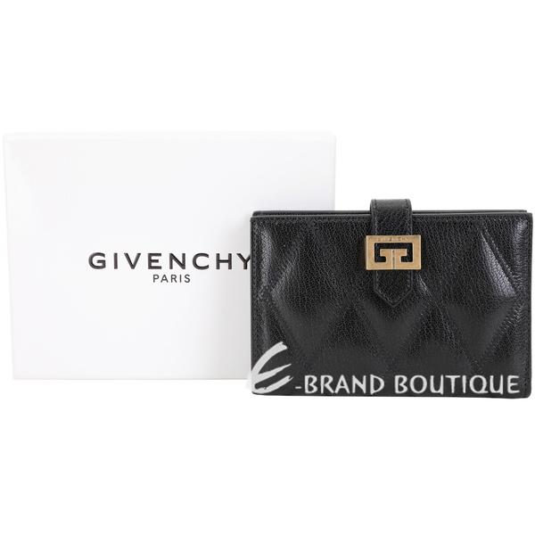 GIVENCHY GV3 絎縫鑽石紋山羊皮釦式中夾(黑色) 1920286-01