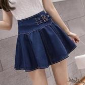 夏季薄款超高腰a字復古傘裙寬鬆收腰蓬蓬裙牛仔半身裙 防走光短裙 JX1501『Bad boy時尚』