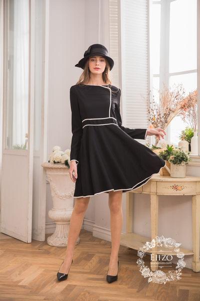 【EIIZO】典雅風簡約設計洋裝(黑)