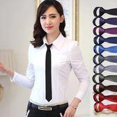 售完即止-韓版休閒女領帶窄純色正裝職業免打懶人上班簡易易拉得領帶10-8(庫存清出S)