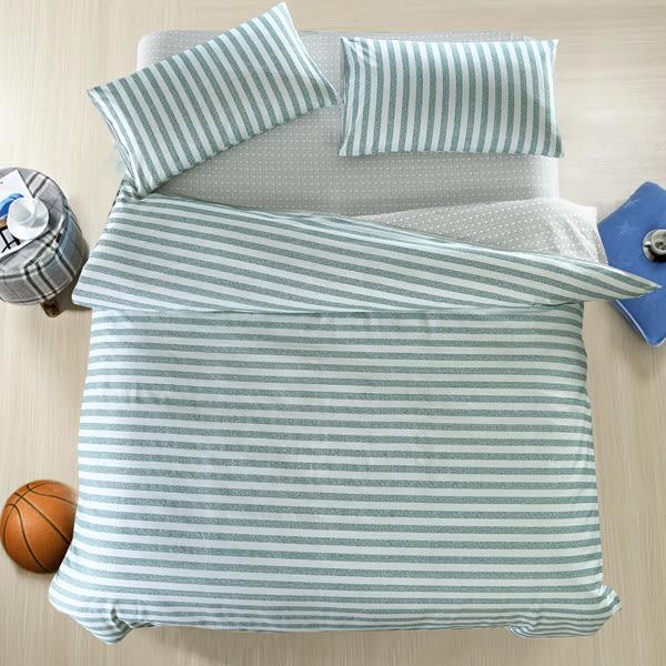 100%精梳純棉 雙人床包兩用被五件組 宜家時尚-綠
