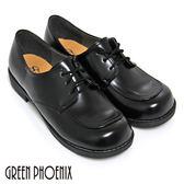 B-2A589 綁帶女學生鞋   優質綁帶低跟學生皮鞋(女款)【GREEN PHOENIX】