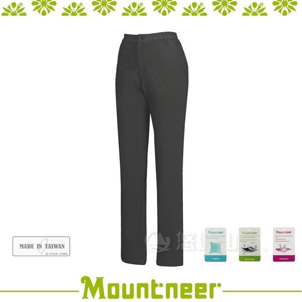 【Mountneer 山林 女 輕量三層SOFT SHELL窄管長褲《黑灰》】22S10-17/登山/透氣快乾/禦寒/軟殼褲