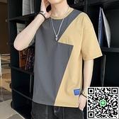 男士短袖 ins男士純棉短袖t恤夏季新款青少年學生休閒韓版寬鬆男五分袖半袖