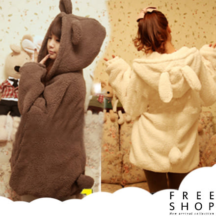 Free Shop [現貨] 韓版純色冬季小熊萌兔耳朵動物裝加厚保暖中長版毛毛絨羊羔毛連帽外套【QZZZ8126】