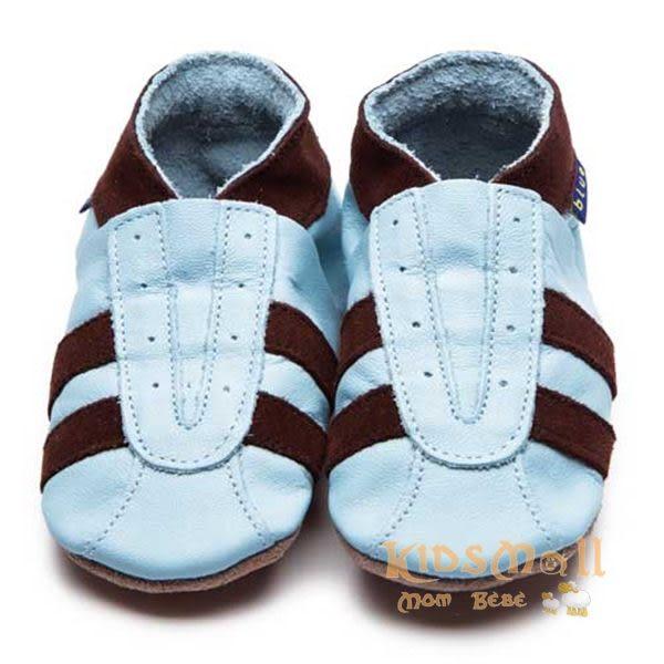 英國製Inch Blue,真皮手工學步鞋禮盒,Sports-Baby Blue/Chocolate